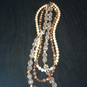 Jewelry - Triple Strand Necklace With Auth Pale Pink Pearl